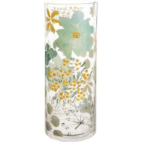 Glass Vase With Floral Motif H30