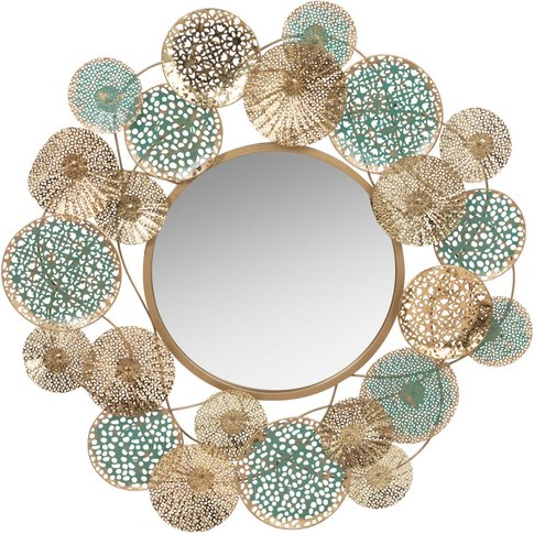 Gold and Turquoise Metal Mirror D83