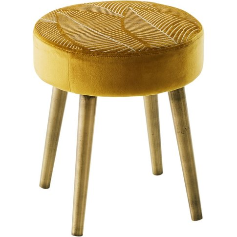 Gold Embroidered Velvet Stool with Pine Legs