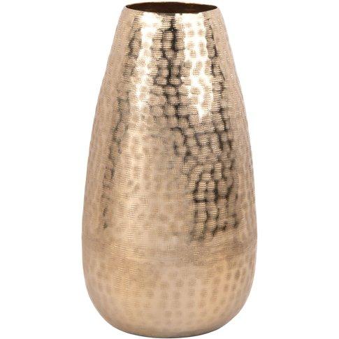 Gold Hammered Aluminium Vase H31