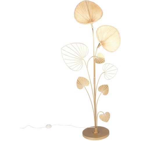 Gold Metal And Bamboo Ginkgo Floor Lamp