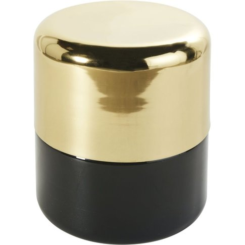 Gold Metal and Black Glass Side Table H43
