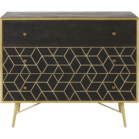 Gold Metal And Black Solid Mango Wood 3-Drawer Chest...