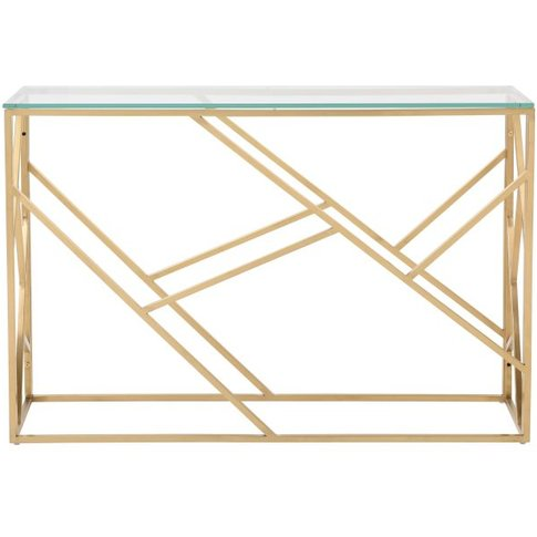 Gold Metal And Glass Console Table Arago