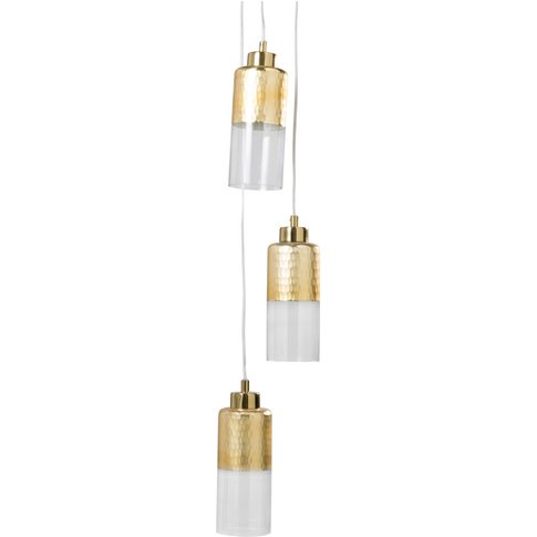 Gold Metal and Glass Pendant with 3 Spotlights