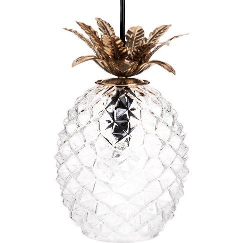 Gold Metal and Glass Pineapple Pendant Light