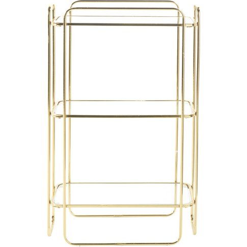 Gold Metal And Glass Shelving Unit