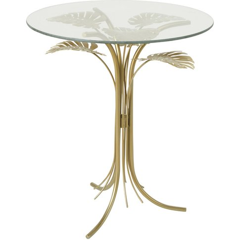 Gold Metal and Glass Side Table
