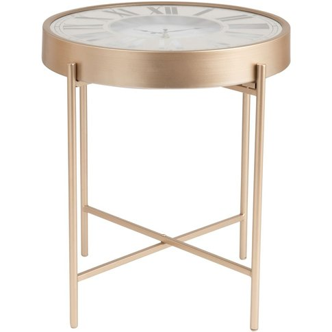 Gold Metal And Glass Side Table With Clock