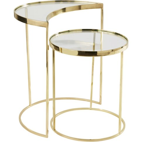 Gold Metal And Glass Side Tables (X2)
