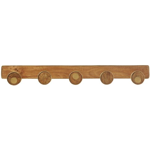 Gold Metal And Mango Wood 5-Hook Coat Rack