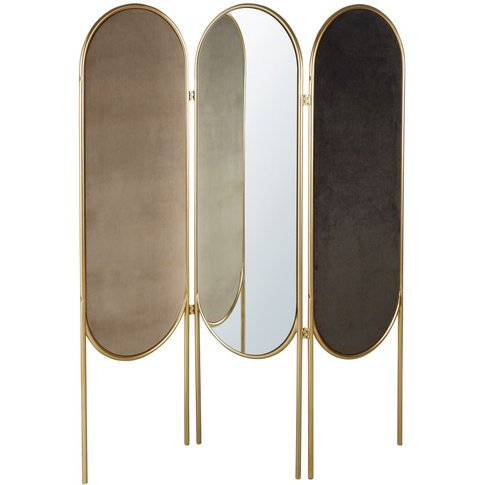 Gold Metal And Velvet Room Divider With Mirrors