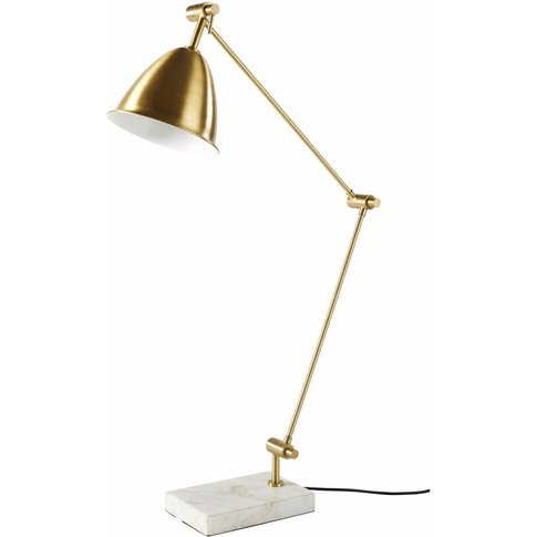 Gold Metal and White Marble Adjustable Lamp