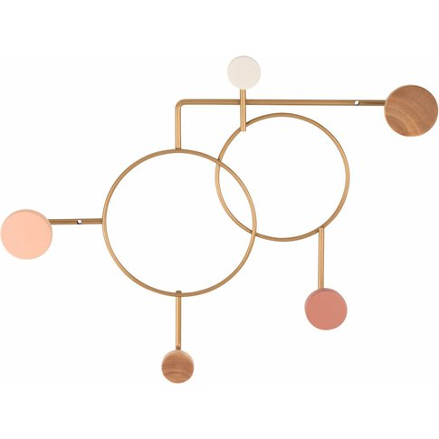 Gold Metal Coat Rack With 5 Multicoloured Beech And ...