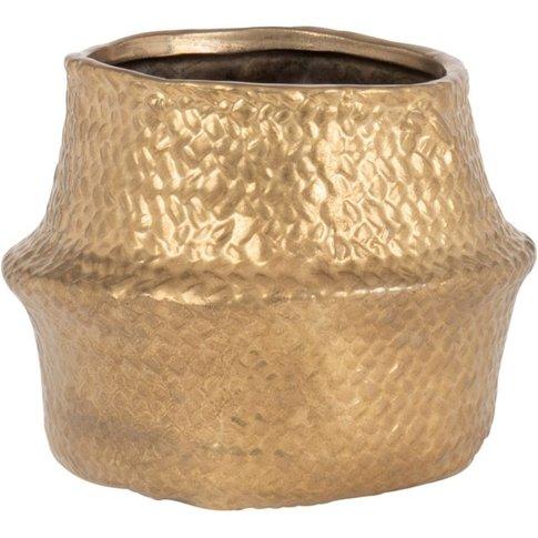 Gold Stoneware Basket-Style Planter H12