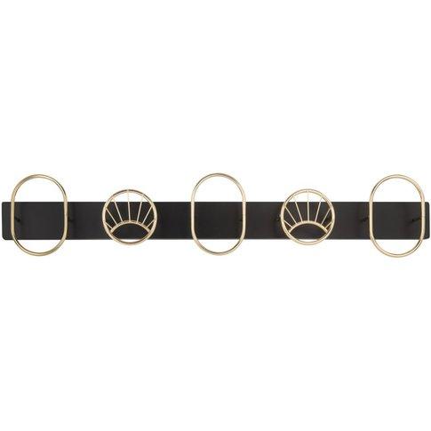 Golden Metal 5-Hook Coat Rack