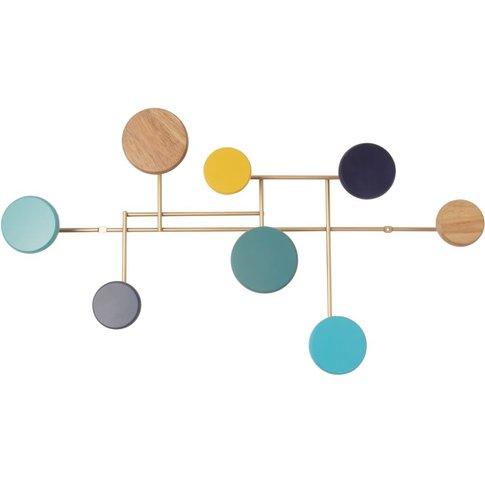 Golden Metal Coat Rack With 8 Multicoloured Hooks