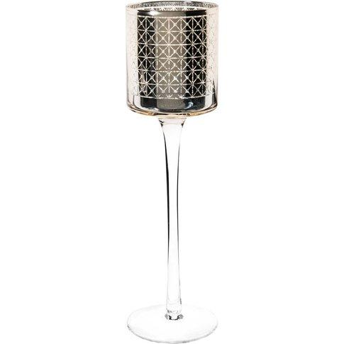 Golden Stemmed Glass Candle Holder H 31 Cm