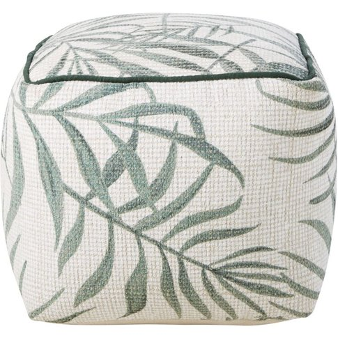 Green And Ecru Palm Leaf Print Pouffe