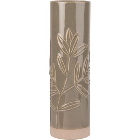 Green And White Ceramic Vase With Engraved Flowers
