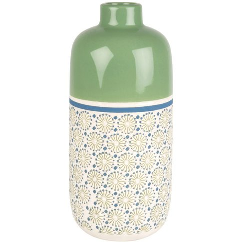 Green, Blue And White Stoneware Vase With Graphic Pr...