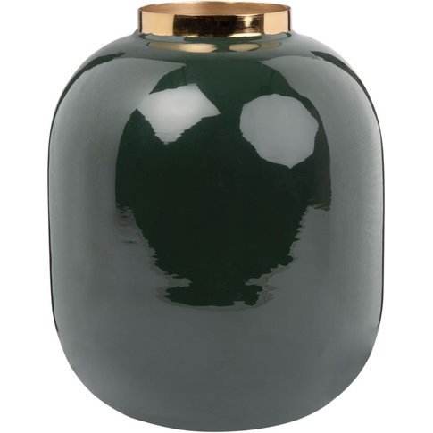 Green Metal And Gold Vase H20