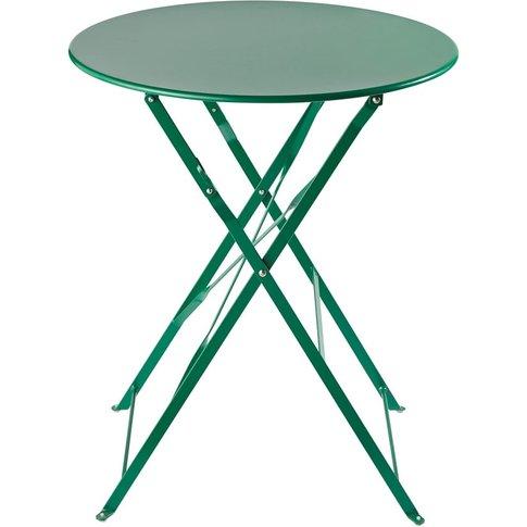 Green Metal Folding Garden Table D 58 cm Guinguette