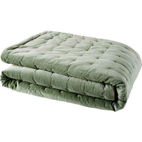 Green Velvet Quilted Bedspread 240x260
