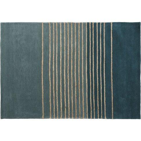 Green Wool Rug With Jute Stripe Print 140x200