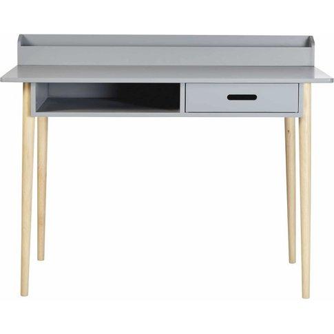Grey 1-Drawer Desk With Oak Legs Galaxy