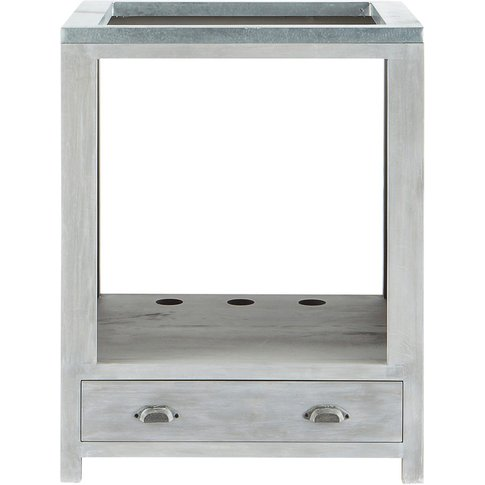 Grey Acacia Wood Kitchen Base Cabinet For Oven W70 Zinc