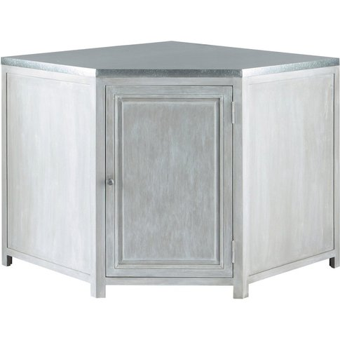 Grey Acacia Wood Kitchen Base Corner Cabinet W99 Zinc