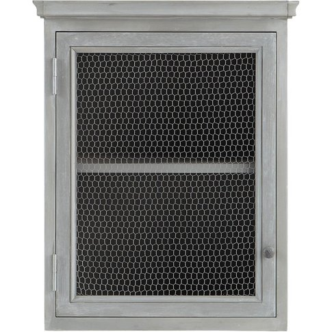 Grey Acacia Wood Kitchen Wall Cabinet, Right-Opening...