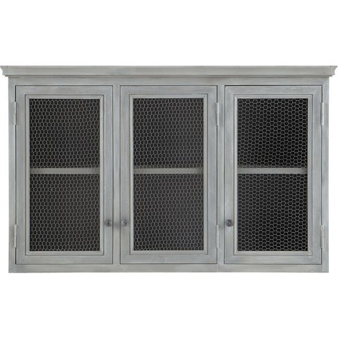 Grey Acacia Wood Kitchen Wall Cabinet W80 Zinc