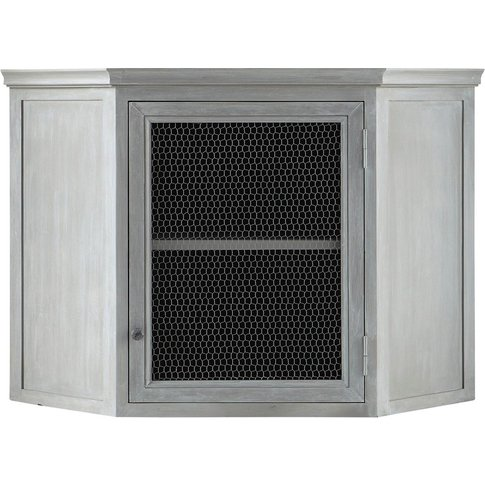 Grey Acacia Wood Kitchen Wall Corner Cabinet W76 Zinc
