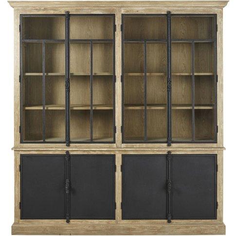 Grey And Black 4-Door Display Cabinet Voltaire