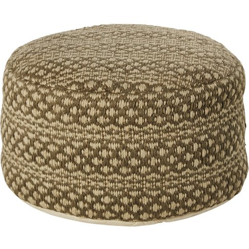 Grey And White Jute Pouffe