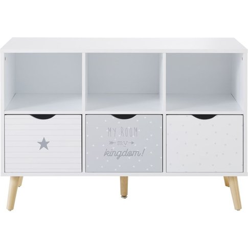 Grey And White Patterned 3-Drawer Storage Cabinet Dr...