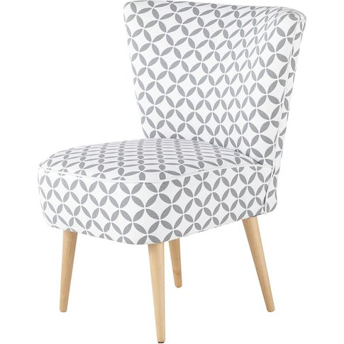 Grey And White Patterned Cotton Vintage Armchair Sca...
