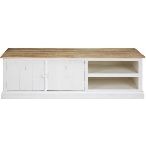 Grey And White Solid Mango Wood 2-Door Tv Unit Figue...