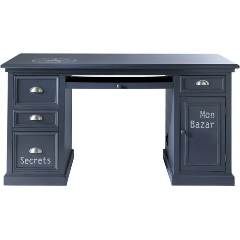 Grey Blue 1-Door 4-Drawer Desk Newport