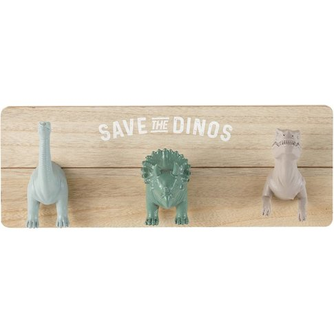 Grey, Brown And Green 3-Hook Dinosaur Coat Rack