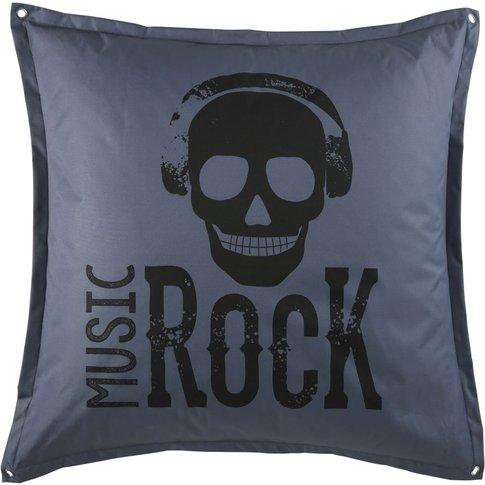 Grey Floor Cushion with Black Print 100x100
