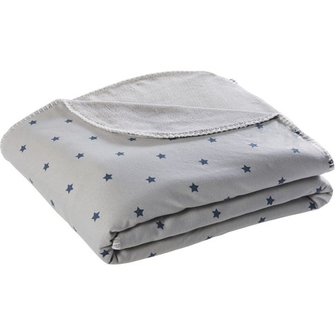 Grey Print Throw With Blue Star Print 130x170