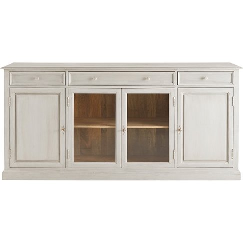 Grey Solid Mango Wood 4-Door 3-Drawer Sideboard Castel