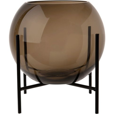 Grey Tinted Glass Bowl Vase On Black Metal Base H21