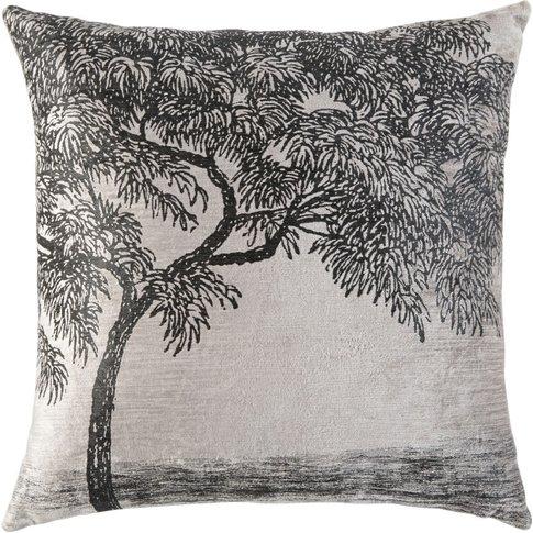 Grey Velvet Cushion With Black Tree Print 45x45