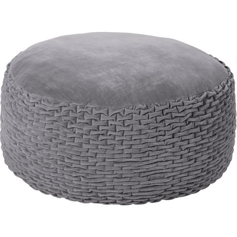 Grey Velvet-Effect Cotton Pouffe