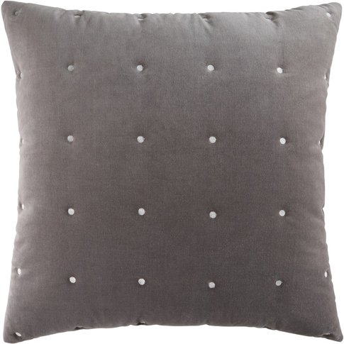 Grey Velvet Quilted Cushion 60x60