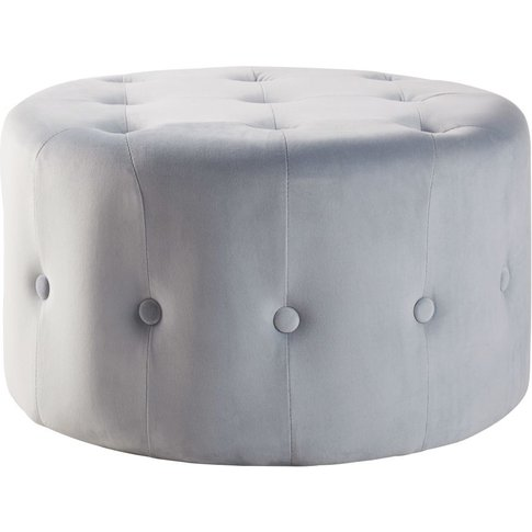 Grey Velvet Quilted Footrest Pouffe on Wheels
